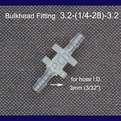 """1/8"""" 3.2mm 4mm Bulkhead Fitting Hose Barb Joiner Pipe Tube Water Air Boat"""
