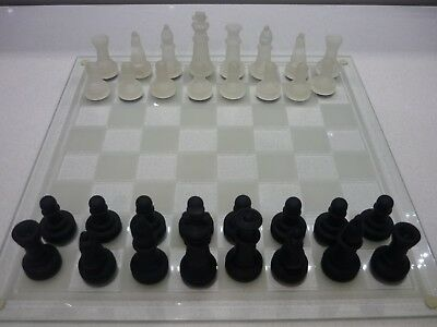 Chess Set, Glass Black & Clear