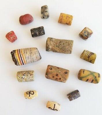 Vintage Venetian Millefiori Rugged African Glass Trade Beads lot of 15