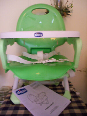 Chicco Pocket Snack Portable Booster Seat Green EUC With Box