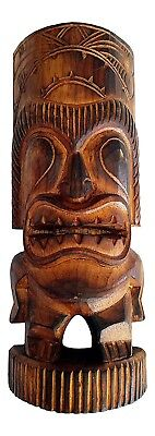 Tiki Man Statue Novelty Gift Hand Carved Ancient Hawaiian Wooden Warrior Statue