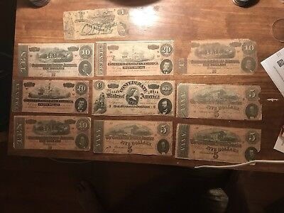 Large US Confederate Currency lot! Old Civil War Notes! Very Rare Free Shipping*