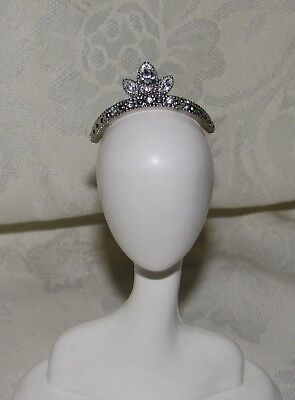 Barbie Duchess Of Diamond Swarovski Crystal Faux Silver Tiara Crown For Doll