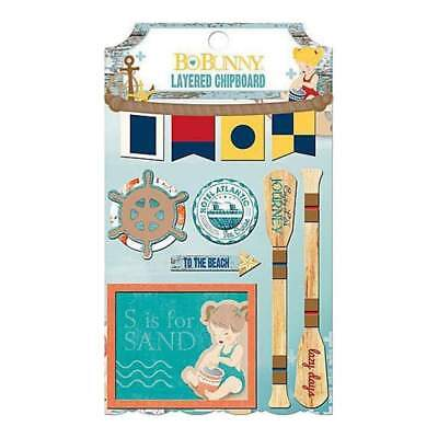 NEW Bo-Bunny - Boardwalk Self-Adhesive Layered Chipboard