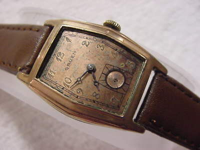 Vintage PINK GOLD FD large antique Art Deco GRUEN CURVEX mens watch
