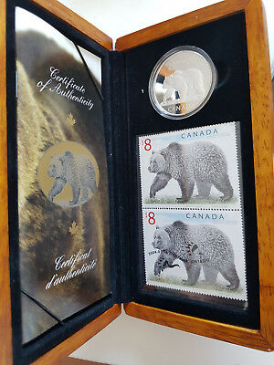 Kanada 2004 The great GRIZLY Set $8 Proof Coin und 2 $8 Stamps CoA