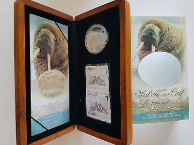 "Kanada 2005 ""The Atlantic Walrus and Calf"" Set $5 Proof Coin 2 x $1 Stamps CoA"