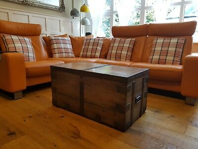charming old Antique victorian waxed Pine Chest / Trunk / Blanket Box/ vintage