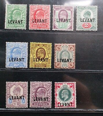 BRITISH LEVANT 1905 KE VII 1/2d to 1s SG L1 - L10 Sc 15 - 24 set 10 MLH