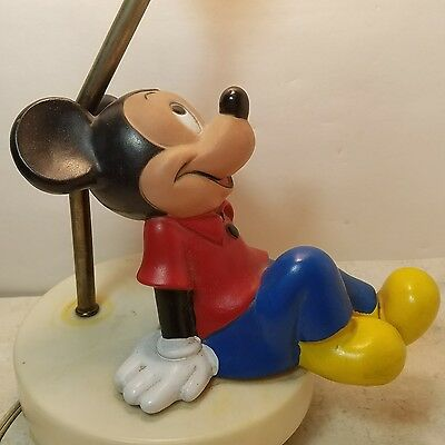 Vintage 1970's MICKEY MOUSE lamp nightlight 3 way switch no Shade miss base foot