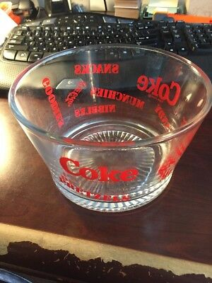 "Coke Snack Bowl Coca Cola Glass Vintage for Candy Munchies Pretzels 4.25"" x 7"""