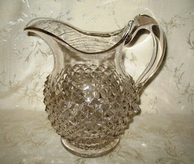 1800's Antique Hand Blown Clear Glass Pitcher with Diamond Cut Pattern