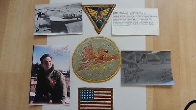 WWII original grouping 12 AF/ 65 FS named to D V ORTMAN patches