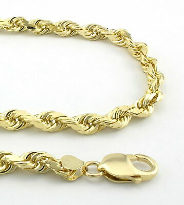 REAL 10K Yellow Gold 6mm WIDE Italian Diamond Cut Rope Chain Link Necklace 24""