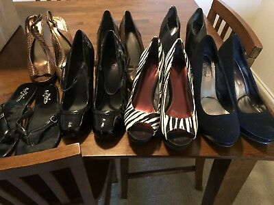 Women's shoes size 8-9 high heel/sandal lot of 7 pair. Black and Animal Print