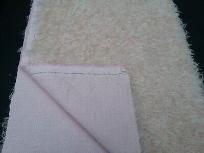 """Mohair fabric pink curly with gold metallic thread 17"""" x 26"""""""