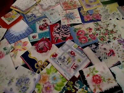lot of 35 Vintage cutter/craft FLORAL hankies handkerchiefs w FLAWS