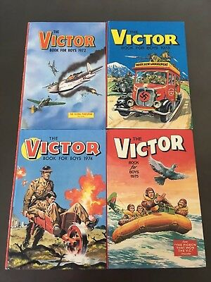The Victor Book For Boys 1972, 1973, 1974 & 1975 Annuals - Hardback 4 Books