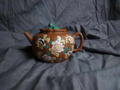 Chinese 19th Century Melon Shaped Enamelled Yixing Teapot with Lion