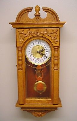 """Large Oak D & A Time and Strike Wall Clock Lyre Pendulum 28 """" Tall"""
