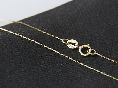 Real 14Kt yellow Gold thin BOX Chain Necklace Real 14k Solid gold