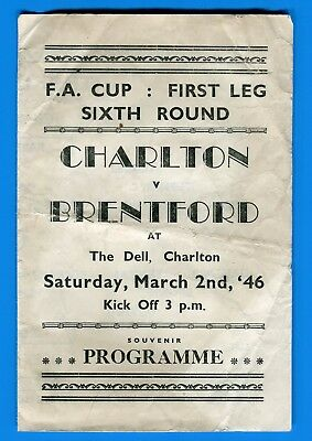 Charlton Athletic v Brentford FA Cup 6th round 1945-6 pirate issue