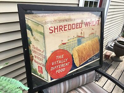 1930's ANTIQUE SHREDDED WHEAT STORE DISPLAY FRAMED RARE