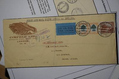 1932 First air mail flight South Africa to England with info