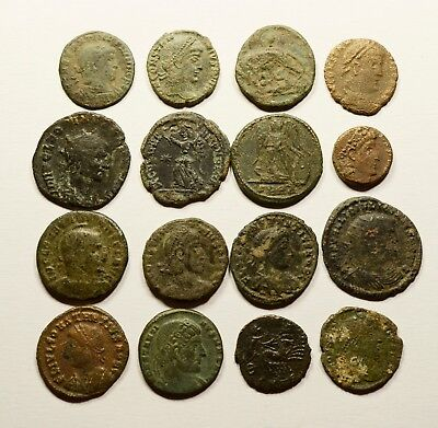Lot Of 16 Imperial Roman Bronze Coins For Identifying - 025
