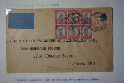 1935 South Africa Imperial Airways Delayed service cover to Croydon