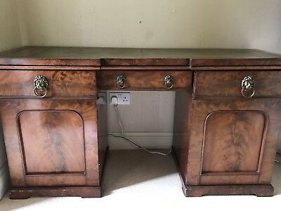 Antique Burr Walnut Leather Inlay Desk