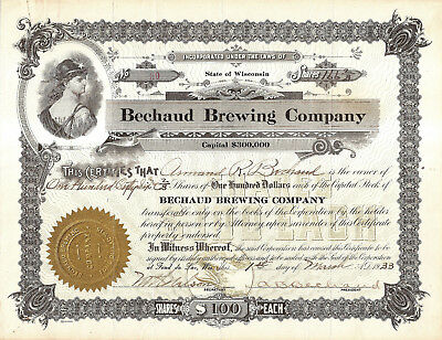 1933 Bechaud Brewing Co Issued Stock Certificate- Fond du Lac, Wis