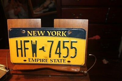 2010 New York Empire State License Plate  HFW 7455 BENT