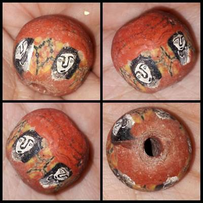 Lovely Ancient Mosaic Glass Bead With Faces