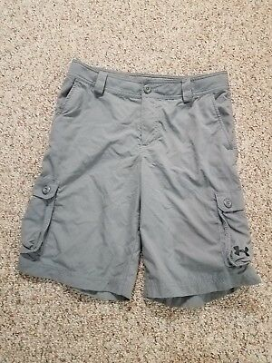 New Without Tag Boy's under Armour Gargo Gray Golf Short Size large fit Loose