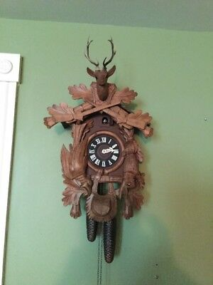 "Cuckoo. Clock 24""  Black Forest Deer Phesant Rabbit Guns Western Germany OLD"