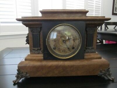 Beautiful Antique 1880s Seth Thomas Mantel Chime Clock, Anamantine Lion Heads