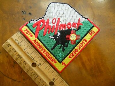 PHILMONT 75th ANNIVERSARY PATCH 1938-2013, BULL & TOOTH OF TIME (NEW WITH TAGS)