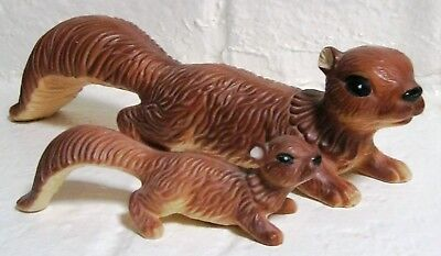 """Vintage Ceramic Squirrels (2) Figurines Mother 13""""l & Baby 7""""l Japan Great Cond"""