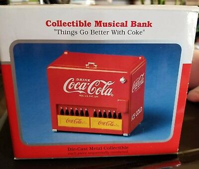 1997 Coca Cola Die Cast Metal Collectible Musical Coin Bank with Box  paperwork