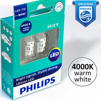 Philips W5W LED T10 Ultinon Warm White 4000K Interior and Parking Light 12V 2W