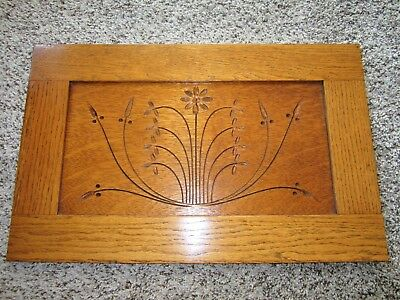 MINT! 1800s Oak Spoon Carved Eastlake Panel Victorian Cabinet Furniture Pediment