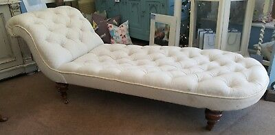 Victorian Daybed Chaise Longue Mahogany Buttoned Upholstered Chaise
