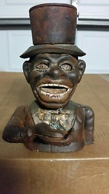 Cast Iron Jolly Boy Mechanical Coin Bank J.E Stevens Americana Top Hat