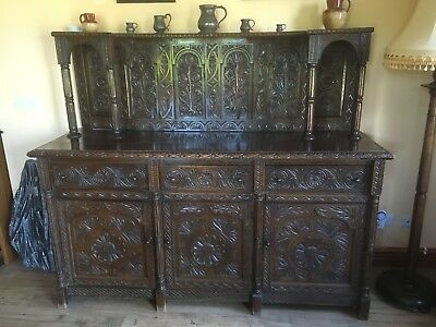 jacobean style carved oak court cupboard sideboard gothic antique