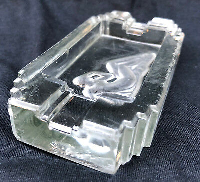 VINTAGE FRENCH ART DECO 1930s NAKED LADY ASHTRAY MADE FROM SOLID HEAVY GLASS