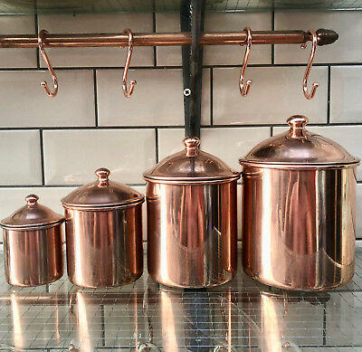 Vintage French Set Of 4 Copper Kitchen Storage Canisters Jars & Lids By Letrefle