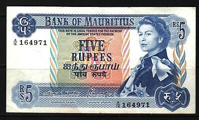 Mauritius - ND(1967) Bank of Mauritius 5 Rupees P30b Banknote XF condition