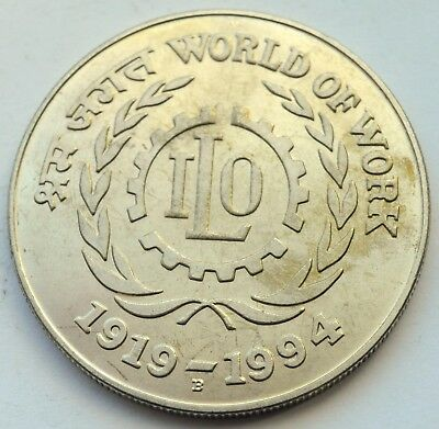 India 100 Rupees 1994 World Of Work Silver Huge Coin