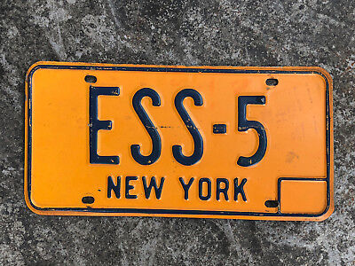 1990's New York PERSONALIZED License Plate #ESS-5 Only Four Digits